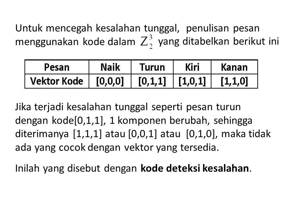 Untuk mencegah kesalahan tunggal, penulisan pesan menggunakan kode dalam Jika terjadi kesalahan tunggal seperti pesan turun dengan kode[0,1,1], 1 komponen berubah, sehingga diterimanya [1,1,1] atau [0,0,1] atau [0,1,0], maka tidak ada yang cocok dengan vektor yang tersedia. Inilah yang disebut dengan kode deteksi kesalahan.